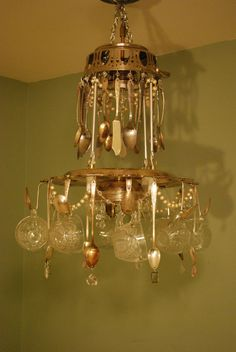 Repurposed/ Recycled Vintage Teacup and Silverware 2-Tier 5-Light Chandelier Light