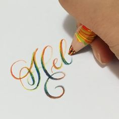 How about trying the colorful lettering with this amazing pencil👉Shop this c. Hand Lettering Alphabet, Doodle Lettering, Creative Lettering, Lettering Styles, Brush Lettering, Typography, Calligraphy Handwriting, Calligraphy Letters, Fancy Writing