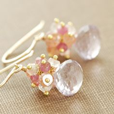 Pastel Cluster Earrings 14k Gold Fill Peach Pink by aubepine, $61.50