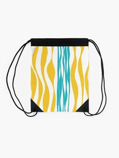 """""""Ebb and Flow - Turquoise & Yellow"""" Drawstring Bag by LAEC-Shop 