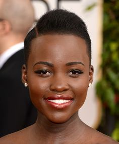 Lupita Nyong'o rocked a fierce side-parted style at the Golden Globes. #hair #hairstyle #blackhair #shorthair #style #cut #celebrity #beauty