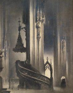 "tableau de Ludwig Rösch "" Die Pilgramkanzel in St Stephan "" Art And Illustration, Illustrations, Fantasy Kunst, Fantasy Art, Serpieri, Fantasy Setting, Ludwig, Fantasy World, Pilgrim"