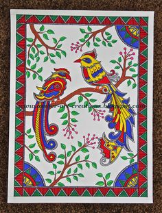 Amber-art-creations, arts, crafts and DIY projects: Madhubani Painting.Birds in Love Madhubani Paintings Peacock, Kalamkari Painting, Madhubani Art, Indian Art Paintings, Acrylic Paintings, Paper Flower Art, Paper Art, Cool Art Projects, Diy Projects