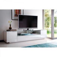 Meuble TV bas Riverview I - Blanc brillant