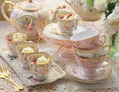 Strawberry Shortcakes in Antique Coffee Cups