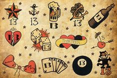 Sailor Jerry Flash Sheets | traditional Sailor Jerry flash sheet for Friday the 13th; tattooer ...