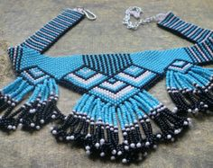 Handmade seed bead collars and necklaces | Popular items for seed beaded choker on Etsy