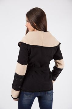 Crossover Winter Wrap - Deep V neckline - Self tie fastening - Wrap over detail - Leather bound buckle detail on arms Crossover, Arms, Ruffle Blouse, Neckline, Deep, Coats, Detail, Winter, Long Sleeve