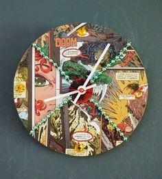 Comic book pages, a cork trivet and Mardi Gras beads are used to create this comic con themed clock. This is a great craft for teens!