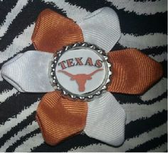 Sporty Bottlecap Flower NCAA University of Texas Longhorns Hair Bow ~ Free Shipping ~ Bows By Kittak $4