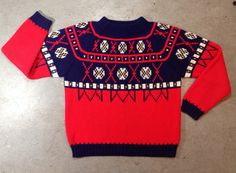 vintage 1980s ski sweater in red & navy. size large. retro clothing. 80s jumper.   ReRunRoom   $26.00