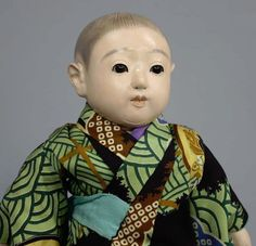 B878 Vintage Japanese Signed Kimono Boy Doll Nihon Ichimatsu Ningyo