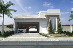 Custo de obra por m2. Confira o custo para construir. Planta de casa com fachada de tijolinho