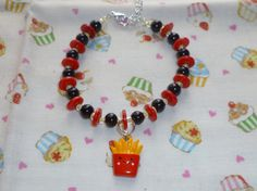 Super Cute french fries bead and button bracelet  by NiNEFRUiTSPiE, £3.50