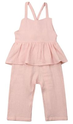 Beautiful ruffled pink jumpsuit for toddler girls. Shop it now Girls Fall Outfits, Little Girl Outfits, Boy Outfits, Ruffle Jumpsuit, Baby Jumpsuit, Ruffle Romper, Toddler Girl Style, Toddler Girl Outfits, Toddler Girls