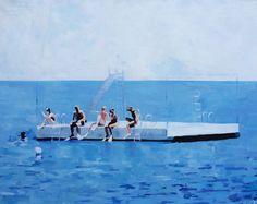 Lisa Golightly Diving Platform Painting on Chairish.com