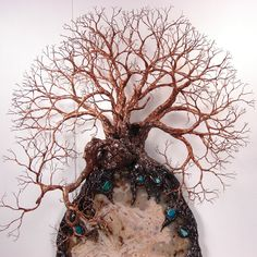 Good Wire Tree Of Life Sculpture, Ancient Grove SpiRits, Brazil Geode Opal  Agate, Turquoise