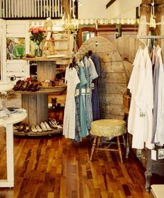 Vintage store display using round wooden tables