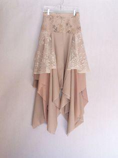 Upcycled Clothing Skirt Handkerchief Hem Skirt Gypsy by TatteredFx