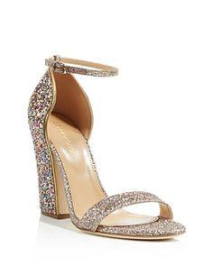 Sergio Rossi Freda Glitter Block Heel Ankle Strap Sandals