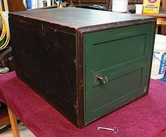 Beautiful, working condition safe that can be used today. Mounts flush with the floor or inside a wall. This Yale Jr. safe has the original paper on the inside of the door with a patent date of 1851,