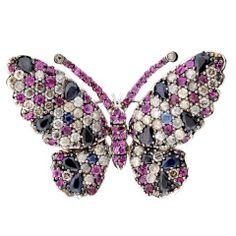 Sapphire, Ruby & Diamond Butterfly Brooch