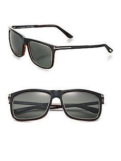 Tom Ford Eyewear Karlie 57MM Square Sunglasses - Black-Brown