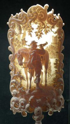 Ivory candle shield. European late 19th century. - Gavin Douglas Antiques