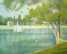 Georges Seurat - evolved a mosaic-like technique- pointillism- evolved from theories of color and optics of his time