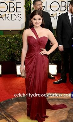 Ariel Winter at 71st Annual Golden Globe Awards Burgundy One-shoulder Dress Formal Dress.prom dresses,formal dresses,ball gown,homecoming dresses,party dress,evening dresses,sequin dresses,cocktail dresses,graduation dresses,formal gowns,prom gown,evening gown