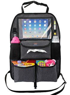 Car Seat Organizer with Tablet Holder BONUS Universal Hook Automotive back seat travel storage caddy for kids baby with iPad viewer >>> You can find out more details at the link of the image.