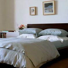 Huddleson Celadon Light Green Italian Linen Duvet Cover. Pure linen in a fresh, calming, life-affirming color.