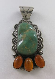 LARGE NAVAJO STERLING SILVER GREEN TURQUOISE & AMBER HANDMADE PENDANT