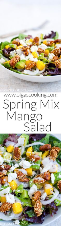 Spring mix salad with mango and avocado drizzled with poppy seed dressing Pea Salad, Mango Salad, Salad Bar, Green Salad Dressing, Spring Mix Salad, Healthy Meals, Healthy Recipes, Dressing Recipe, Salad Dressings
