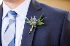 Thistle boutonniere | Photo by Amber Kay Photography | Colorful Historic Mansion Wedding on heartlovealways.com