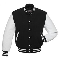 Black Wool and White Leather Letterman Jacket - C101 US ❤ liked on Polyvore featuring outerwear, jackets, tops, white jacket, wool leather jacket, leather jacket, black varsity jacket and wool varsity jacket