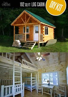 Highly affordable small and tiny log cabin kits that you can assemble yourself in days! Small Log Home Plans, Tiny Cabin Plans, Small Log Cabin Kits, Diy Log Cabin, Cabin Loft, Cabin House Plans, Tiny House Cabin, Cheap Log Cabins, Pre Built Cabins