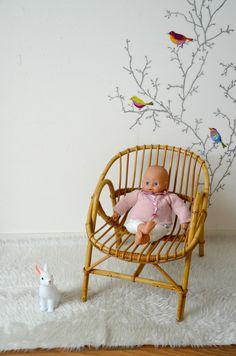 fauteuil corbeille en osier/rotin enfant, vintage, armchair , rattan de la boutique atelierdelachoisille sur Etsy