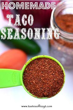 Homemade Taco Seasoning.  Makes a big batch so you'll always have seasoning on hand for taco night! http://www.tastesoflizzyt.com/2013/05/02/homemade-taco-seasoning/