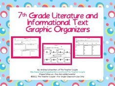 7th grade Over 25 graphic organizers and handouts to align your literature and informational texts to the Common Core standards. Editable document makes it e...