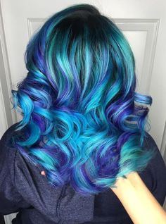Teal+Hair+With+Purple+Highlights