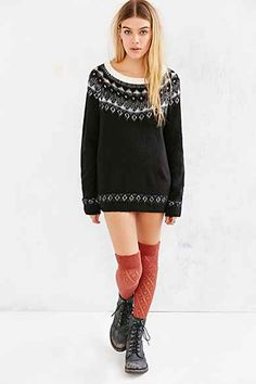 Ecote Patterned Fuzzy Sweater