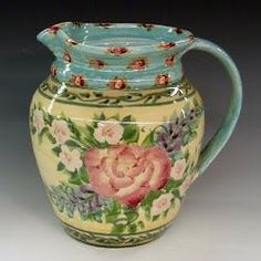 Sandy Kreyer - Kiln House Pottery Pottery Wheel, Pottery Art, Painted Pots, Hand Painted, Ceramic Pitcher, Flower Quotes, China Painting, Cottage Style, Painting & Drawing