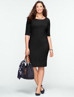 Talbots - Elbow-Sleeve Ponte Dress | | Woman Petites