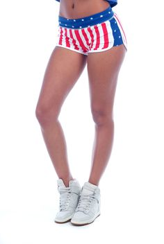 Sporty Short with U.S. Flag Print