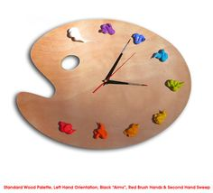 Artist Palette Clock 3D Paint on Wood  Left or Right by RipdNTorn, $48.00