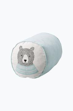 Bloomingville Sittepuff Björne Puff for barn, mintgrønn, hvit med trykk, bomull Ø 30 x H 30 cm polyesterfyll. Vask 40°. <br><br>