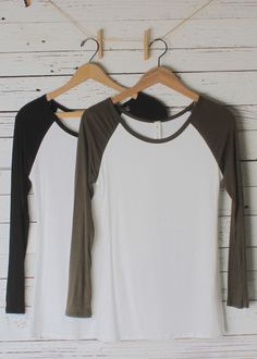 Super fit baseball tee with 3/4 sleeve straight hemline and in three colors! Made in the USA Rayon/Spandex 18 inch bust and 28 inches long (taken from size small, add 1/2 inch for next size up)