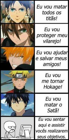 Already on it😂 Anime/manga: Shingeki no kyojin (Attack on Titan) [Eren Yeager] / Akame ga kill! [Tatsumi] / Bleach [Ichigo Kurosaki] / Naruto: Shippuden [Naruto Uzumaki] / Ao no Exorcist (Blue Exorcist) [Rin Okumura] Anime Meme, Otaku Anime, Anime Naruto, Manga Anime, Anime Crossover, I Love Anime, All Anime, Anime Stuff, Blue Exorcist Rin