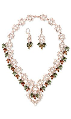 Single-Strand Necklace and Earring Set with Wirework, Enamel and Antiqued Silver-Plated Brass Charms and SWAROVSKI ELEMENTS